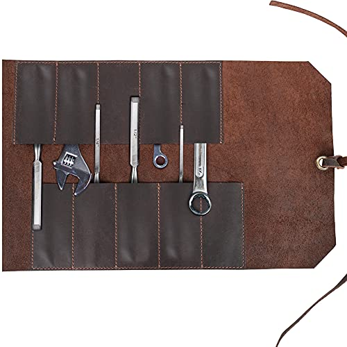"""Leather Roll Up Tool Bag - Tool Roll Up Pouch w/ 10 Pockets –Vintage Style Rolling Tool Bag – All In One Chisel Bag Storage Organizer – Leather Tool Wrench Roll, 16"""" L x 10"""" H"""