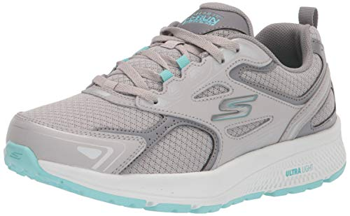 Skechers Women's GO Run CONSISTENT Sneaker, Gray/Turquoise, 7.5 Wide