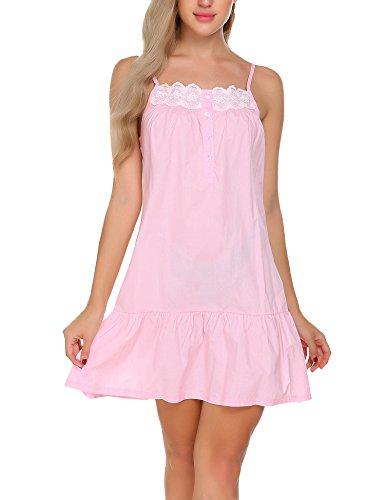 Ekouaer 100% Cotton Nightgown Sleeveless Victorian Sleepwear For Women,Pink 2,XX-Large