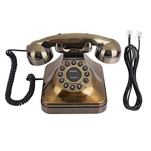 Teléfono antiguo, decoración de teléfono fijo retro de moda antigua con cable, teléfono de escritorio con tono táctil, teléfono vintage, teléfono fijo, teléfono de escritorio para el hogar / oficina