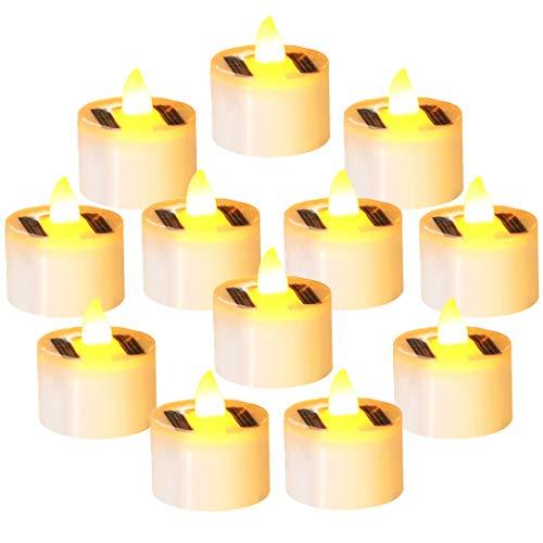 FunPa Solar Kerzen, 12 Stück Solar Teelicht LED Kerzen Außen Interior Flammenlose Kerzen Solar Kerze Teelichter Nachtlicht für Partei Hof Decoration