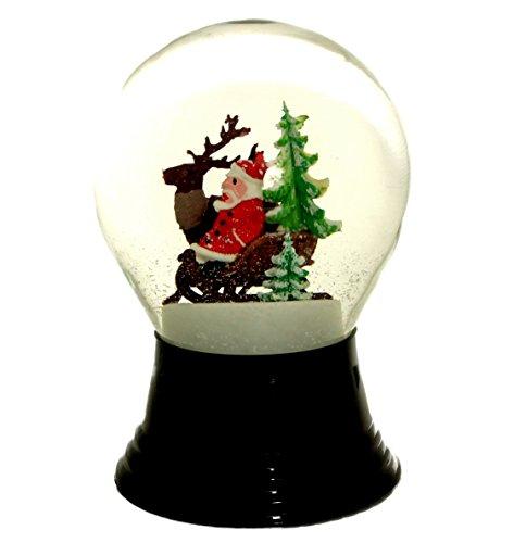 Original Wiener Schneekugel / schneit Fast wie echter Schnee / Echtglaskugel 8 cm / Motiv: Weihnachtsmann mit Schlitten