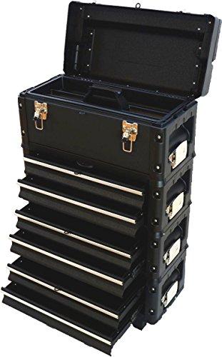ASS Metall Werkzeugtrolley Werkstattwagen XXL Type: B3-B BLACK EDITION schwarz mit Schubladenverriegelung und Schloss