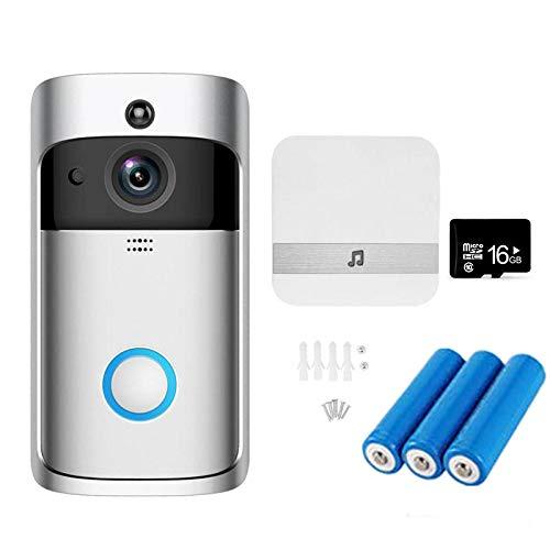 NANTING Wireless Video-Türklingel - 720p HD-Video, bidirektionale Kommunikation, 166 ° Weitwinkel-Nachtsicht-PIR-Bewegungserkennung, WiFi, APP-Steuerung für iOS Android (Silber)