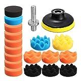 Geeyu ZHaonan- Almohadillas pulidoras dewalt, 19pcs Pulido Esponja for pulir Kit Set, de 80 mm de 3' Colores for el Coche Pulidora Buffer, Adaptadores para Pulido de Coches