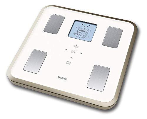 タニタ体重体組成計バックライト日本製ホワイトBC-810WHフルドット液晶の表示画面採用/顔イラストや応援メッセージ表示