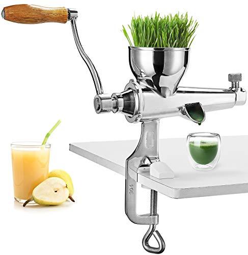 Moongiantgo - Exprimidor manual de acero inoxidable para exprimir trigo, hierbas, apio, espinacas, perejil, granada, manzana, uvas, frutas y verduras (estilo mejorado)