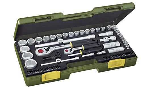 PROXXON Steckschlüsselsatz, Komplettsatz mit 1/4'' und 1/2''-Umschaltratsche sowie Schraubendrehergriff, 65-teiliges Werkzeug-Set für zöllige Schrauben mit Kunststoffkoffer, 23294