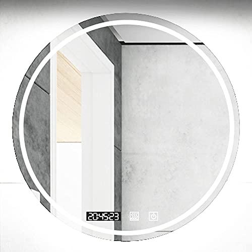 LZQHGJ YAWEN Redondo DIRIGIÓ Espejo de baño, 3 Colores de Luces y Espejo de Maquillaje de Interruptor táctil Regulable, Espejo Decorativo Anti-Niebla (Color : Led+antifog+Time, Size : 70cm/2.8in)