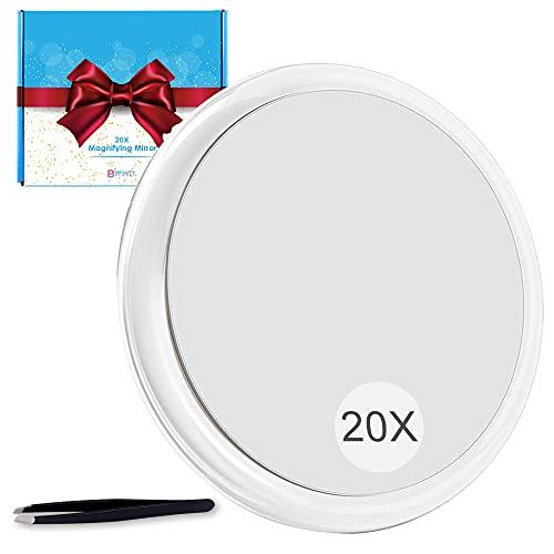 Vergrößerungsspiegel 20fach mit 3 saugnapfs,15.2cm große Größe Reise vergrößerungsspiegel, für Make-up-Anwendung,transparent