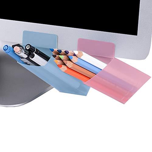 MinniLove モニター ペン立て ペンスタンド 2セット入 収納ペン立て 卓上収納 文具収納 多機能分類箱 小物収納ボックス 小物入れ 収納ボックス 整理分類 便利簡単 デスクの利用空間アップ (ピンク三角形+ブルー四角形)
