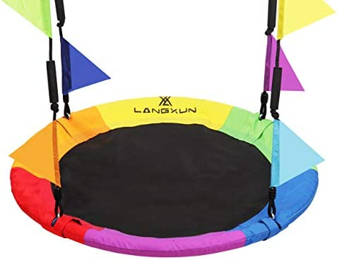 LANGXUN 40 Inch Rainbow Saucer Tree Swing for Kids and Adults with Carabiners and Flags 700 product image