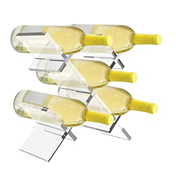Wine Rack Countertop Lattice Freestanding 5 Bottle Wine Holder Modern Transparent Acrylic Plastic Free Standing Tabletop Storage Wine Bottle Small Stand for Home Kitchen Bar Cabinets