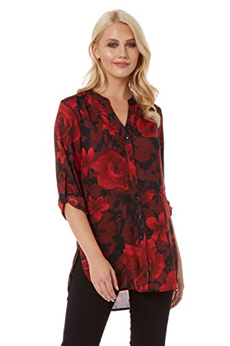 Roman Originals Women Floral Print Shirt Top - Ladies Collarless Smart Blouse Tunic Button Through Longline Long Asymmetric Hem Fitted 3/4 Length Long Roll Up Sleeves V Neck - Red & Black - Size 10