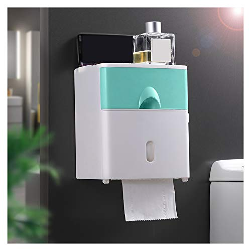WXXSL Moderno Portarotolo Bagno, ABS Impermeabile Montaggio Parete Portarotolo Carta Igienica Nessuna Perforazione Deposito Tessuto Bagno 17,6×13,6×20,6cm,Verde