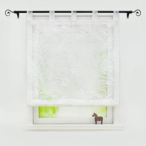 Joyswahl Voile Weiß Raffrollo mit Feder Ausbrennerqualität »Alisha« Schals Fenster Gardine mit Schlaufen BxH 140x150cm 1 Stück