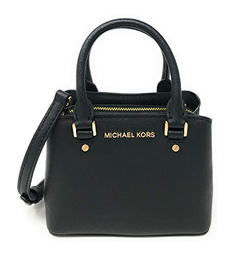 """Saffiano Leather, Gold Tone Hardware Top Zippered Closure, Fully Lined Inside: 3 Card Slots double handles with 2.5"""" Drop, Comes with Removable & Adjustable Shoulder Strap 6"""" W x 5"""" H x 3.5"""" D"""
