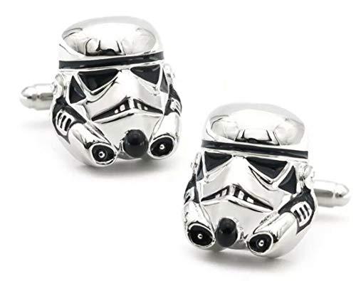 Star Wars Stormtrooper-Manschettenknöpfe für Herren, Zinklegierung, silberfarben