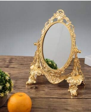 ZHOUSITONGEU Metal Vintage Vanity Mirror Wedding huis op Decoratieve Mirrors (Golden gem) (Color : Golden cloud)