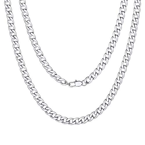 5mm Men Chain Silver Tone Stainless Steel Curb Cuban Link Necklace Gift