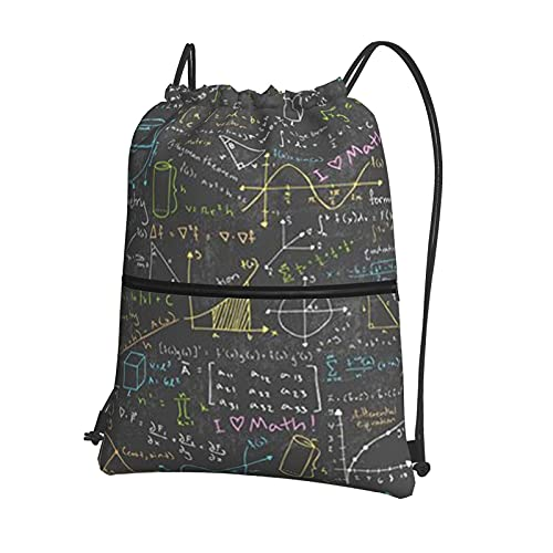 AOOEDM Geek Nerd Math Mathematician Pi Day Mochila con cierre de cordón, mochila deportiva con bolsillos exteriores con cremallera para adolescentes, niños, niñas, hombres, mujeres