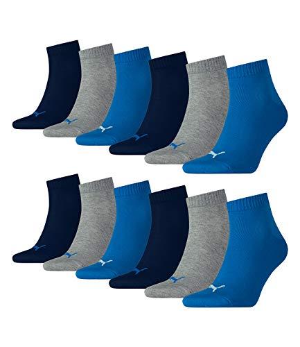 PUMA Unisex Quarters Socken Sportsocken 12er Pack, 39/42, 277 - Blue / Grey Mélange