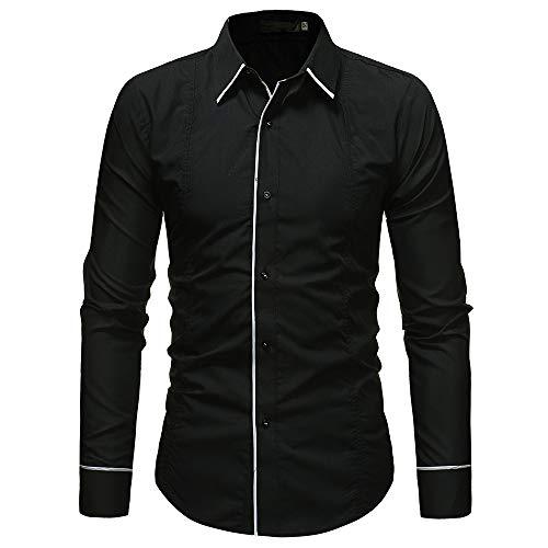 qulvyushangmaobu Herrenhemd Slim Fit Langarm Elastic Formal Shirt Lässig Button Down Shirts für Herren Herren Banded Collar Langarm Casual Dress Shirts