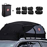 21 Cubic Feet Car Rooftop Cargo Carrier Bag, Soft Roof Top Luggage Bag for All Vechicles SUV with/Without Racks - Waterproof Zip, Anti-Tear 1000D PVC, with Storage Bag & 8 Reinforced Strap