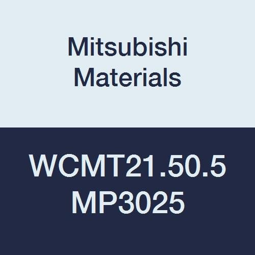 """Mitsubishi Materials WCMT21.50.5 MP3025 Coated Cermet WC Type Turning Insert with Hole, Trigon, Grade MP3025, 0.008"""" Corner Radius, 0.25"""" IC, Standard Breaker, 0.094"""" Thick (Pack of 10)"""