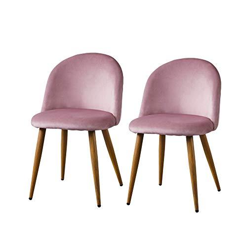 Samt Esszimmerstuhl 2er Set Küche Loungesessel mit gebogener Rückenlehne und Metallbein für Wohnzimmer Schlafzimmer Schminktisch Stühle