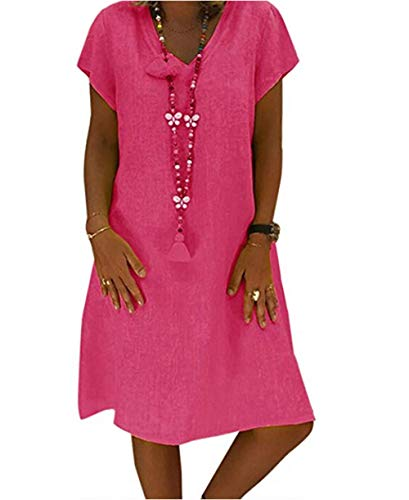 Yutila Damen Leinenkleid für den Sommer V-Ausschnitt Casual Kleid im Boho Look, Rose, XXXL(EU 46)