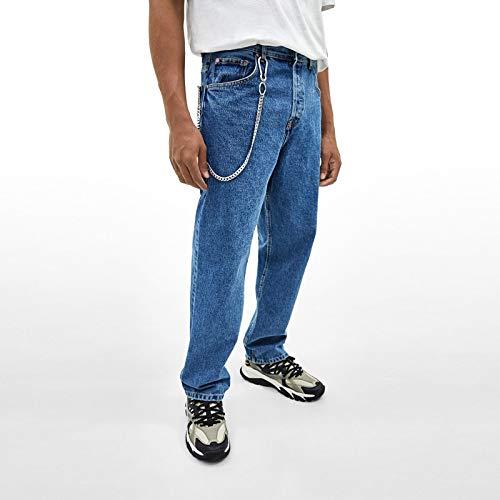 SWAOOS 45Cm Punk De Acero Inoxidable Hip-Hop Cinturón De Moda Cintura Llavero Pantalón Cadena Pantalones Masculinos Cadena Hombres Jeans Punk Cadena De Billetera Plateada