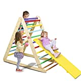 Costzon Foldable Wooden Climbing Triangle Ladder for Sliding & Climbing, 2 in 1 Triangle Climber with Safety Climbing Ladder for Toddlers, Suitable for Children Boys Girls