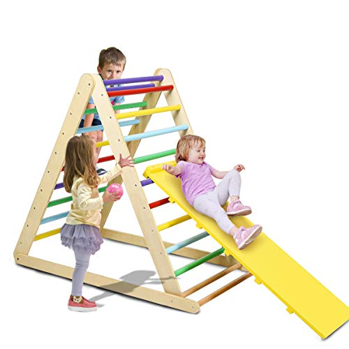 Costzon Foldable Wooden Climbing Triangle Ladder for Sliding & Climbing, 2 in 1 Triangle Climber with Safety Climbing Ladder for Toddlers, Suitable for Children Boys Girls (Colorful)