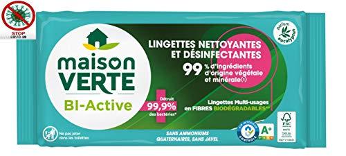 Maison Verte Lingettes Nettoyantes et Désinfectantes Biodégradable Multifonctions Antibacterien Tous Types deSurfaces, 70 unités
