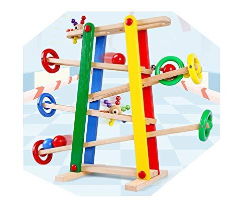 Lalia houten kogelbaan 53 x 49 cm, 2,8 kg, perfect voor kleine kinderen vanaf 2 jaar 5-delig houten speelgoed jongens en meisjes
