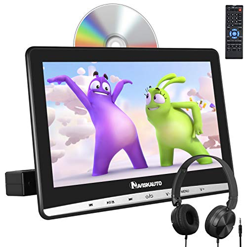 NAVISKAUTO 12' Car DVD Player with Free Headphone, 1366x768 HD Screen and Inhalation Drive Support Sync Screen, AV in & Out, Last Memory, Region Free