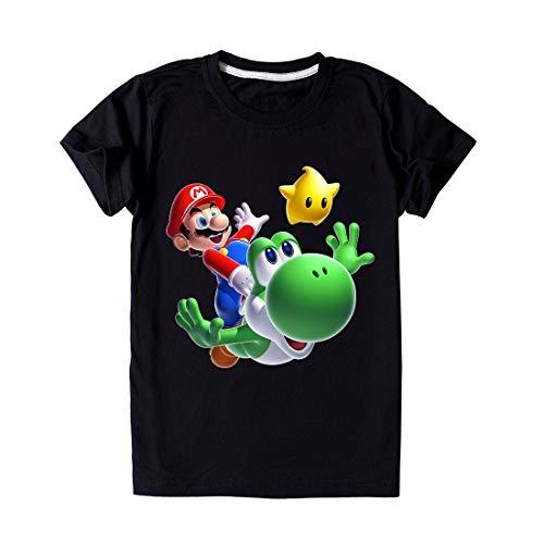 Proxiceen 3  13 aos, camisetas de moda para nias, regalos de Mario, regalos de cumpleaos infantiles, camisetas de manga corta de verano Negro 116-122 cm (6-7 Aos)
