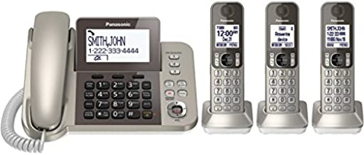 PANASONIC Corded/Cordless Phone System with Answering Machine and One Touch Call Blocking – 3 Handsets - KX-TGF353N (Champagne Gold)