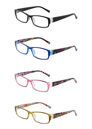 JM 4 Pack Frau Lesebrille Federscharnier Mode Muster Leser für Damen +1.5 Mischfarbe