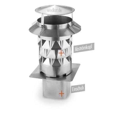 WINDKAT-Schornsteinaufsatz mit Einsteckstutzen eckig 148x148 mm - Nennweite Ø 150 mm