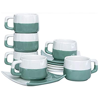 Hompiks Espresso Cups with Saucers Porcelain Tea Cup and Saucer Set, 5 oz for Coffee Cappuccino Latte and Tea Set of 6 Mediumaquamarine