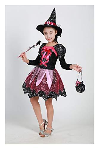 2019000000 Halloween Halloween Hexe Mädchen Kind Zauberer Mantel Rock Cosplay der Kleidung Sets des Magiers zeigen Geeignet für Thema-Partei Karneval Nacht ( Color : Photo Color , Size : 140cm )