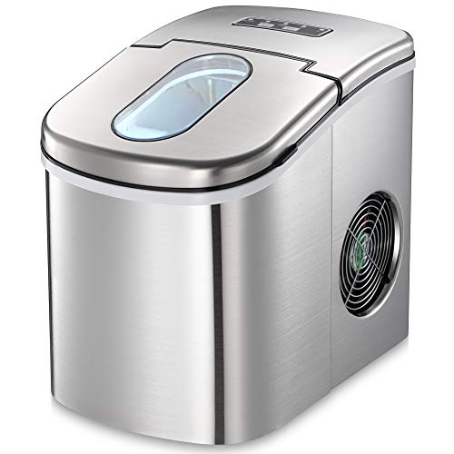Joy Pebble Countertop Ice Maker Machine, 9 Cubes Ready in 6-8 Minutes, 26lbs/24hrs, Portable Ice Cube Maker with Ice Scoop and Basket