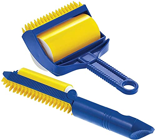 Tang Me Rodillo quitapelusas, cepillo para pelusas, rodillo de pelusas, reutilizable, lavable, rollo adhesivo, pelusas, quitapelusas, para mascotas, limpieza de tela, 1 grande y 1 pequeño (amarillo)