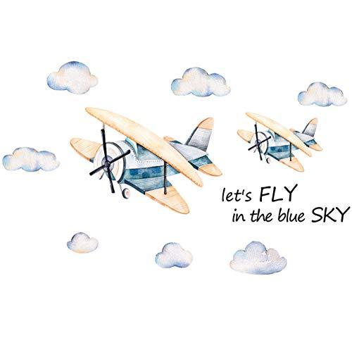 Wolkenmotief animatie muursticker vliegtuig kinderkamer slaapkamer woonkamer decoratie muur sticker vliegtuig behang