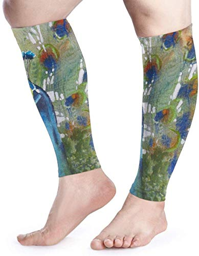 Calf Compression Sleeve for Men & Women, Premium Leg Compression Socks for Shin Splints and Varicose Veins, Elastic Footless Sleeve for Running, Cycling, Travel & Recovery, Peacock Fashion2733