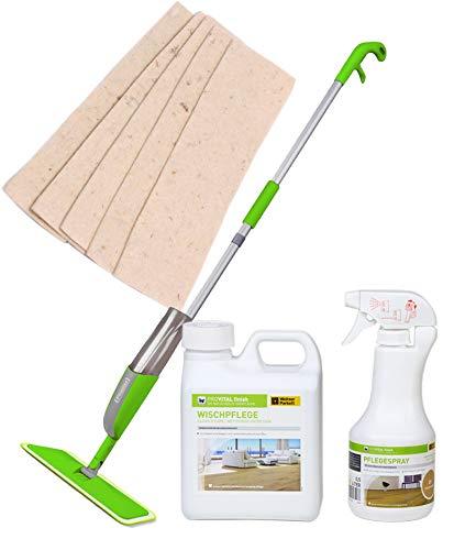 Spray-Öl-Finisher + Weitzer Parkett ProVital Wischpflege + Weitzer Parkett Pflege-Spray + SprayFinisher - ÖL-Pflege - Pflegemittel Reiniger für geöltes Parkett inkl. 5xSoft-Sheep Schafwollpad