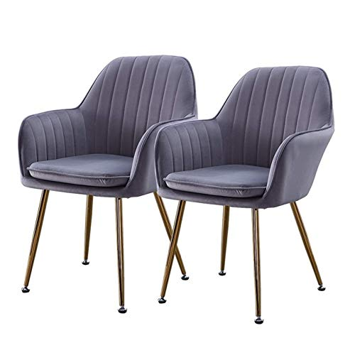 Dining Chairs 2pcs with Arms and Back Support Upholstered Velvet Seat Ergonomics Leisure Electroplated Metal Legs Office Kitchen (Color : Gray)
