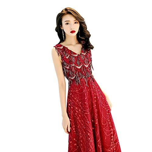 Vestido de Dama de Honor de la Boda Lentejuelas largas Delgado Vestido de Noche Atractivo cóctel Ailin Home (Color : Wine Red, Size : XXL)